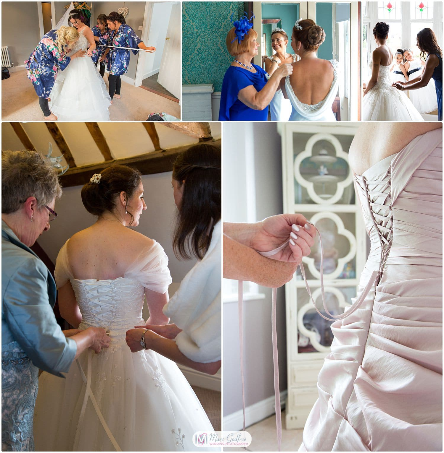 wedding photos you probably didn't consider-putting on your wedding dress